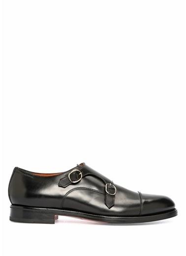 Santoni Çift Tokalı Deri Ayakkabı Siyah